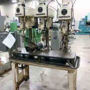 USED CLAUSING MODEL 1639 3-SPINDLE DRILL WITH AIR HYD FEEDS, 15″