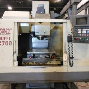 USED HARDINGE CONQUEST VMC 700 VERTICAL MACHINING CENTER WITH GE FANUC 18M CONTROL, 28″ X 18″ X 22″