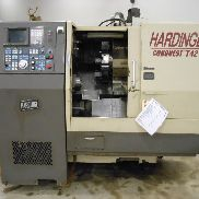 USED HARDINGE CONQUEST T42 CNC LATHE WITH LIVE TOOLING & GE FANUC 18T CONTROL, 1-5/8″