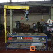 Metal workbench with stem with Demag electric hoist