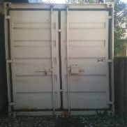 Steel containers, storage containers, material containers, with shelf and light, 6x2,5m