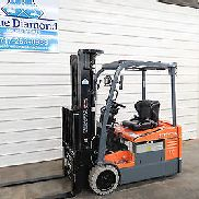 "2013 Toyota 7FBEU15, 3,000# Three wheel Electric Forklift, 189"" Triple, S/S, F/P"