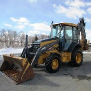 2012 John Deere 410J Tractor Loader Backhoe, 4x4, Cab, Air, Extendahoe, Clean