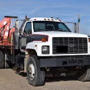1996 GMC Kodiak 7500 20 'Flat Bed w / Fassi F 190 Knuckle Crane