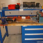 Engineers workbench to include Clarke 100mm belt & disc sander, record No. 3 vice, assorted HHS jobber drill sets and st ...