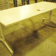 Mfg Unknown, Office Table, mobile, folding legs, table top folds, dimensions open: 72in X 30in X 29in, dimensions folded