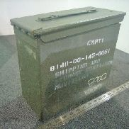 "60ea(Apprx) Ammo cans, Length 11"" Width 5 1/32"" Height 10"", Magnetic, Lids are included, Color Green, Used Manifest not"