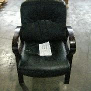 17 EA office chairs stored on 2 pallets. Chairs have dark cherry wood legs, seats are black. Manufacturer unknown. GL