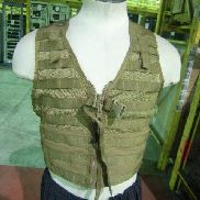 150ea(Apprx) Fighting Load Carrier, Vest fits all sizes, Has metal zipper with plastic snaps, Molle, Coyote Brown. Used.