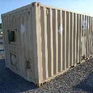 Frederick Mfg p/n LP/PDES /-96 containerized latrine system, s/n 02050. Includes Esen TY 20C-GA-1 container (6) stall co