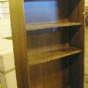 7 ea on 5 Plts, Furniture to include: 1 ea bookcase, wood, back panel damaged, 34.5in X 14in X 72.25in, 1 ea metal desk,