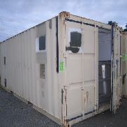Mfg unknown 20 ft container with field scullery/sanitation unit inside to consist Hobart dish washing unit with accessor