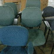 10 office chairs to include 7 blue chairs with 5 casters, 2 green chairs with 5 casters, 1 red chairs with 4 legs. Manu
