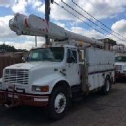 Altec Over-Center Material Handling Bucket Truck rear mounted on 1998 International 4900 Utility Truck (113202)