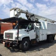 Altec Over-Center Elevator Bucket Truck mounted behind cab on 2003 GMC C7500 Chipper Dump Truck (123061)