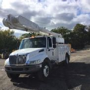 Altec Over-Center Material Handling Bucket Truck rear mounted on 2007 International 4300 Utility Truck (127913)