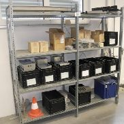 Metal system rack with contents
