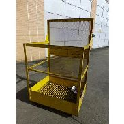Leonard 2 person fork truck mounted access cage, s/n 19538, 140kg max capacity. NB: We are