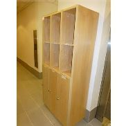 Light wood effect 9 compartment changing room garment storage unit, 930mm x 430mm x 1950mm