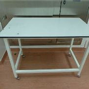 Grey 1300mm x 750mm mobile steel framed laboratory table