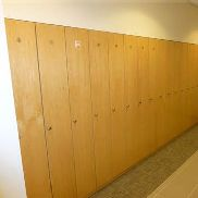 16 light wood effect single door changing room personal storage units (not lockable)