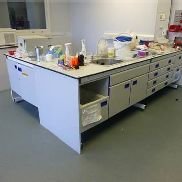Laboratory benching to Cell Biology 1 including 3m x 2m x 750mm wide L-Shaped bench with 4 drawer