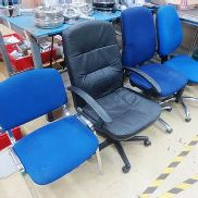 Three assorted office swivel chairs, and one cloth upholstered static chair
