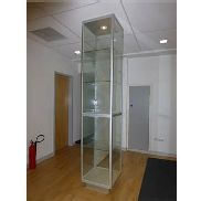 5 tier illuminated, lockable glass display cabinet t600mm x 600mm x 3070mm high