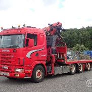 SCANIA R124GB platform truck for sale by auction
