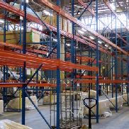 STORAGE racks - 33 Upright frames 550 cm and 159 Horizontal beam other equipment for sale by auction