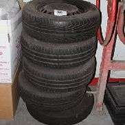 5 several complete wheels with tires including UNIROYAL