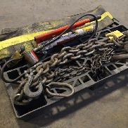 Lot of Rigging Chains and Nylon Slings w/ SPX Power Team P69 Pump w/ Enerpac RSM-100 Jack, and Unknown 2-Ton Bottle Jack