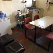 Contents to Canteen including Fridge Freezer, Canteen Table & Chairs and Microwave