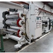 1220mm wide PET sheet downstream EDI die, 300,500,500 sheet stack, haul off winder.