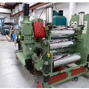 1000mm Wide Esde FL 1000 3 Roll Sheet Downstream. 350mm dia rolls. Pneumatic top nip. Individual driven rolls. 1998,