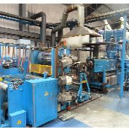 820mm Amut PVC extrusion line for up to 500kg/hr rigid PVC packaging sheet 180micron - 1000micron. 120mm twin, 820mm roll stack, haul off, winder 2004