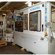 520x400mm Kiefel KL52V thermoformer 3 station with Glue and Pad insert unit, 120mm poitive /negative draw, steel rule cut, 1999
