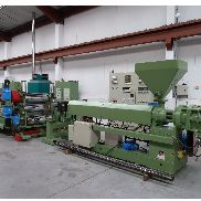 1000mm Egan/ Esde Sheet line: 90mm Egan single screw extruder, s/changer, 850mm EDI Die, 1000mm Wide 3 roll Esde stack and hauloff 1998