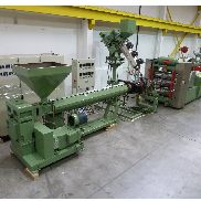 890mm wide kaufman/welex line. 90mm extruder, gearpump. Co extruder. Co- ex block. Die and 3 roll satck and winder