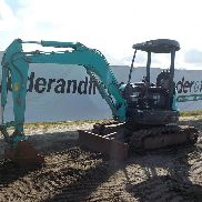 2007 Kobelco SK35SR-5 Mini Excavator, Rubber Tracks, Backfill Blade, Swing Boom - PX15-20004