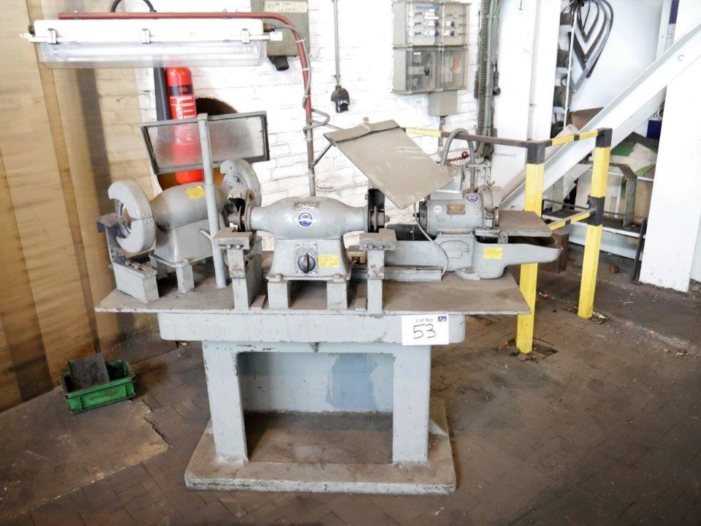 Schleifarbeitsplatz mit 2 Flott Doppelschleifern & amp; Nevan Werkzeugschleifer