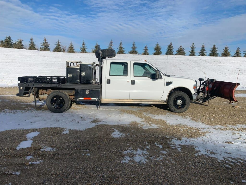 0783- 2009 Ford Super Duty F350 SRW 4WD Crew Cab Flat Deck with Snowplow Attachment and Tool Boxes