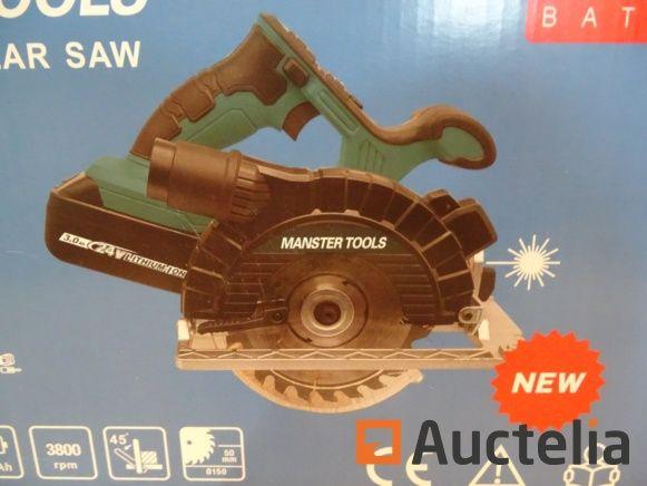 Tragbare elektrische Kreissäge Manster Tools 24 V, 3 Ampere