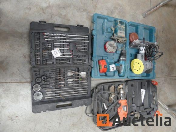 Exzenterschleifer Pattfield, Heißluftpistole B & D, Makita-Bohrmaschine mit Batterien