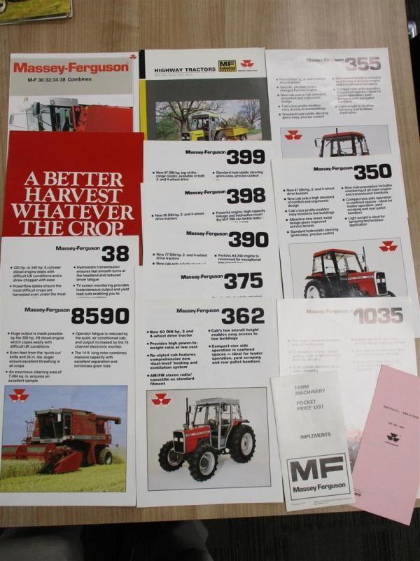 Massey Ferguson Traktor und Mähdrescher Broschüren und Flyer, 1970er-1990 (14)