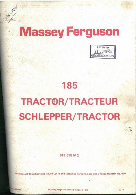 Massey Ferguson 185 Teile Handbuch