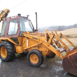 1984 Case 580 Super E Cab backhoe loader Extend-a-hoe 69 HP diesel 2 buckets