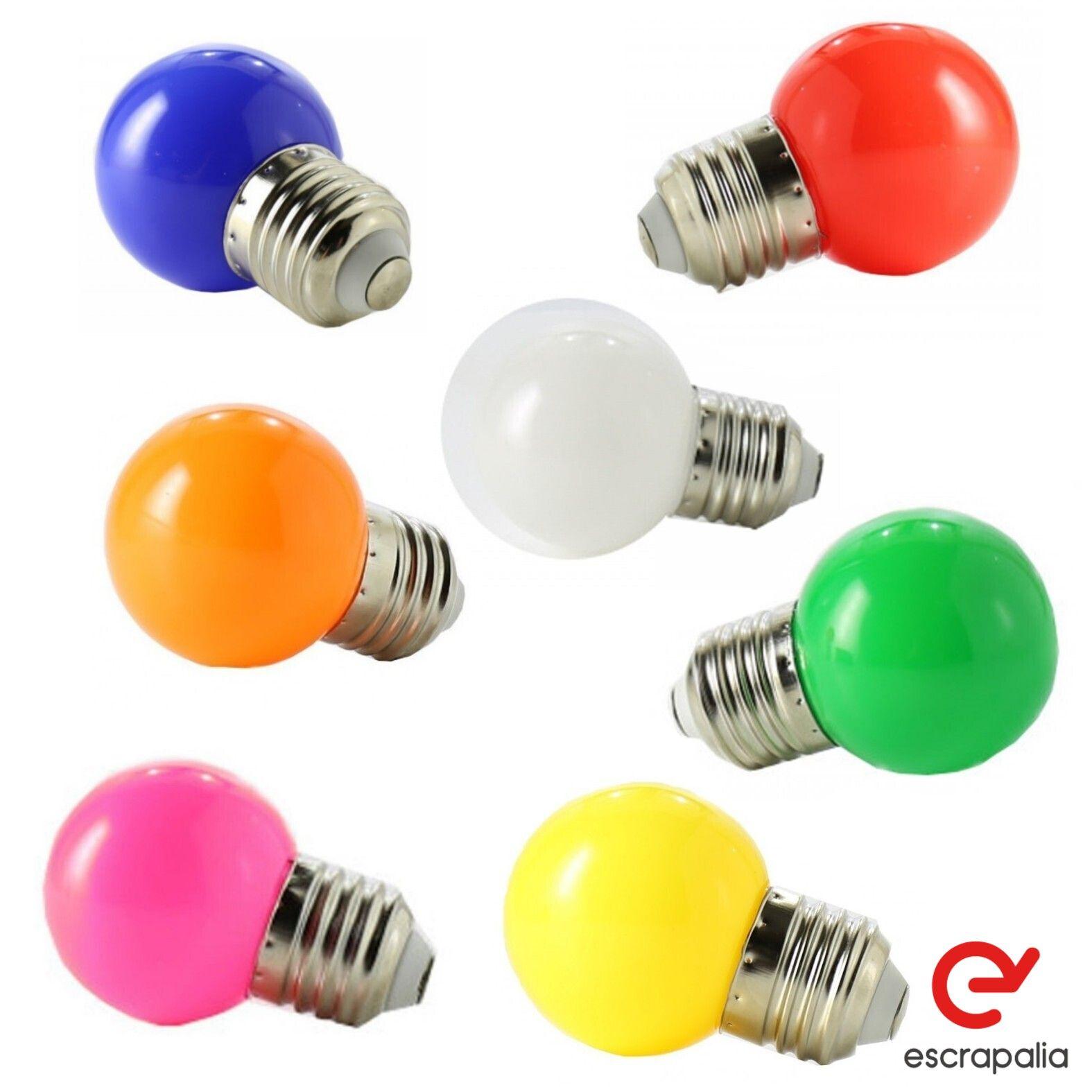 50 Einheiten dekorative LED-Lampe E27 1W sphärisch verschiedene Farben (neu)