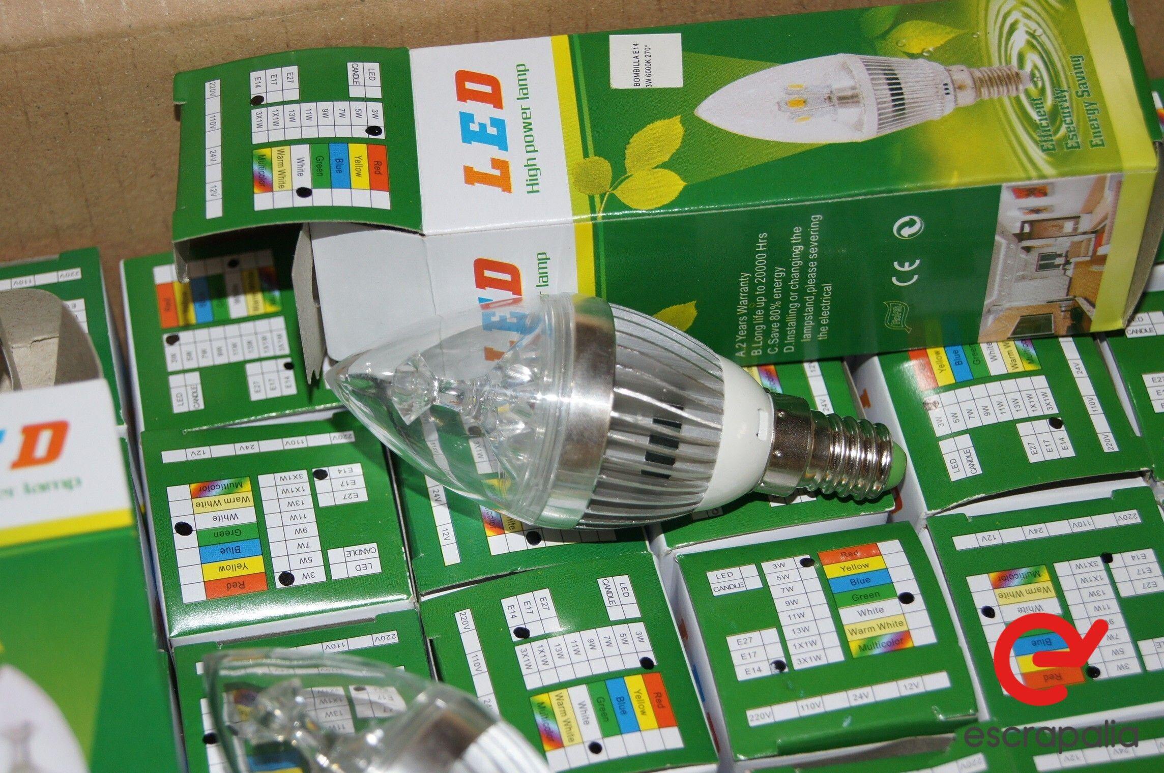 100 Einheiten LED Birne E14 3W Aluminium Kühlkörper Kerze (Neu)