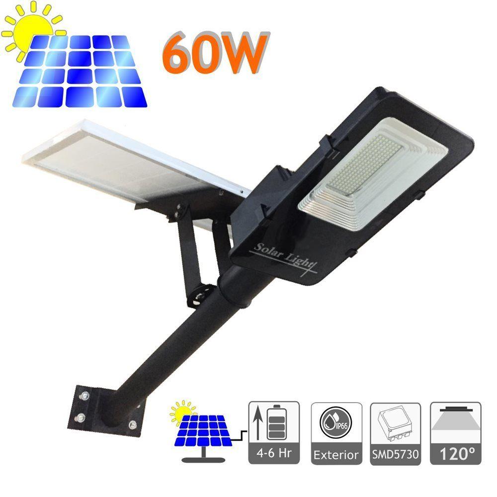 LED Solar Straßenlampe 60W verstellbares Panel (Neu)